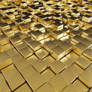 reflective gold cubes.
