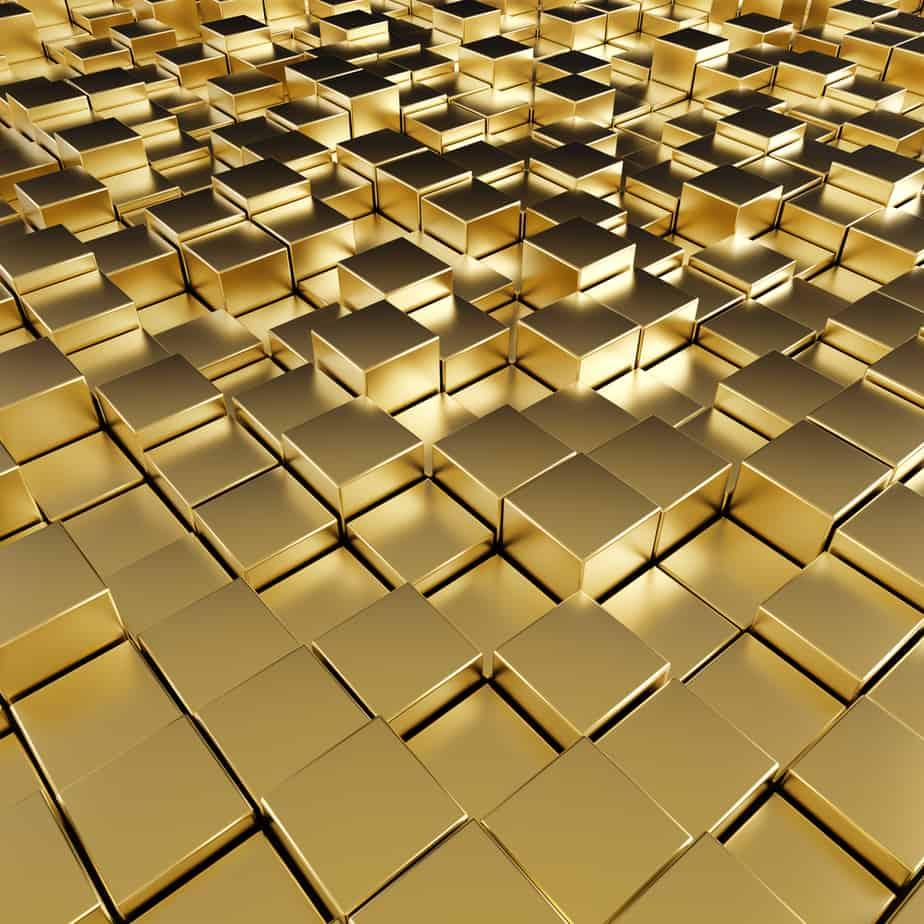 reflective gold cubes.